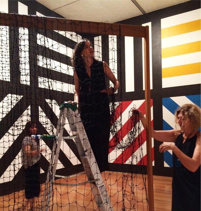 MIR Installing Leonor Antunes's work at Amparo Museum, Puebla with Anne Cadenet