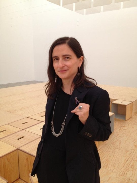 With Tania Bruguera's Awareness Ribbon for Immigrant Respect Campaign at Muac, Mexico, during Nicolas Paris's show