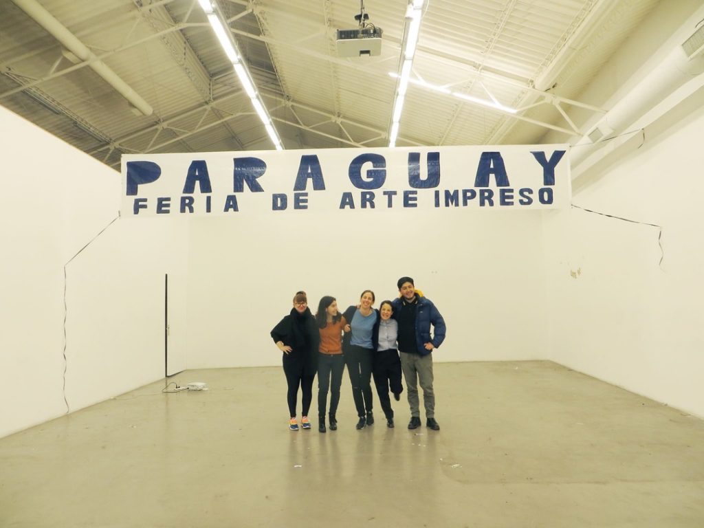 Melina Dorfman, Mora Bacal, Gala Berger, Sofía Dourron, and Alvaro Cifuentes, organizers of the Paraguay Independent Printed Art Fair, at Ruth Benzacar Art Gallery, July 2016.