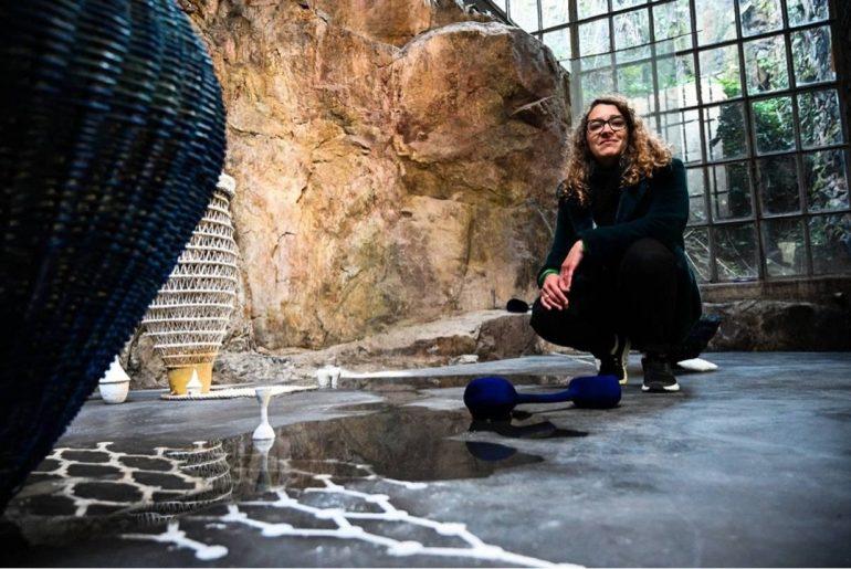 """Curator Aurélie Barnier at """"Éclats #1, Constellation provisoire"""", art center Le Creux de l'Enfer. 2020. Courtesy La Montagne"""