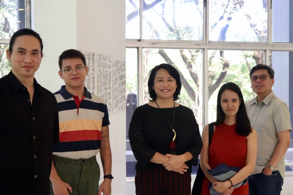 Centre for Heritage, Arts and Textile director Mizuki Takahashi, Vargas Museum curator Patrick D. Flores, and curators Cristian Tablazon and Pristine de Leon. Courtesy Vargas Museum