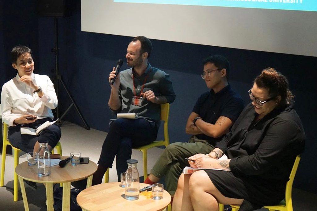 "Singapore Art Book Fair 2019 panel ""On Critical Writing"" with Qinyi Lim, of National Gallery Singapore, ArtAsiaPacific deputy editor H. G. Masters, and artist-curator Ema Tavola. Courtesy NTU-CCA Singapore"