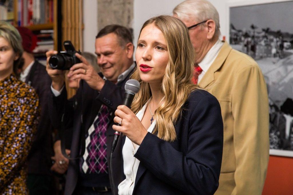 """Alisa Bagdonaite at the opening """"Far focus"""", ZARYA CCA, 2019"""