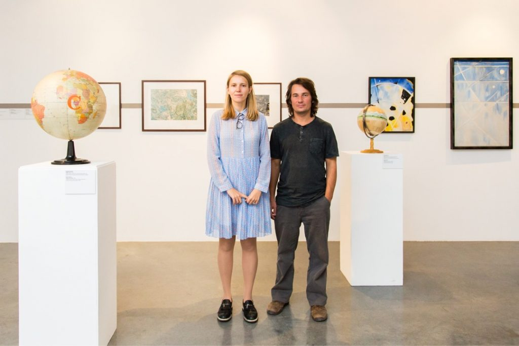 """With curator Nikolay Smirnov at the exhibition """"Metageography_ Orientalism and Dreams of Robinsons"""", ZARYA CCA, 2018"""