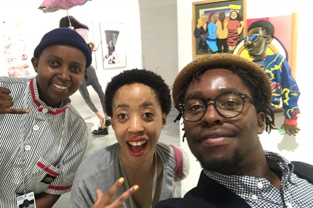 Curator Lerato Bereng At Art Basel Miami Beach with Dada Khanyisa and Simphiwe Ndzube YEAR. Courtesy Setevenson Gallery