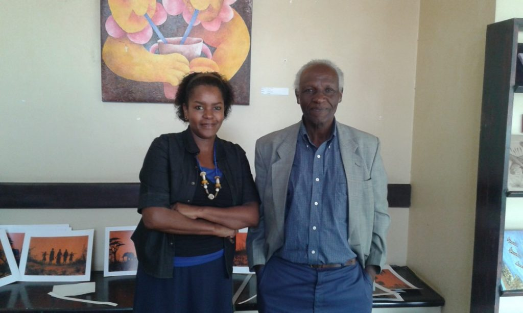 Curator Lydia Gatundu Galavu With artist John Gitonga at the Nairobi National Museum