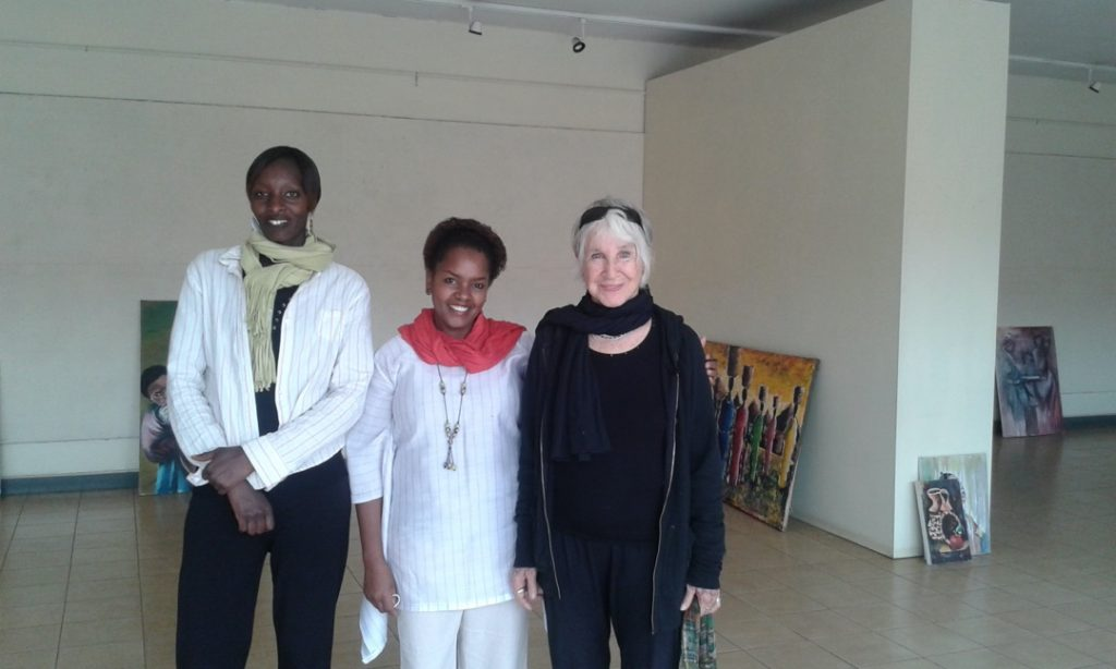 Curator Lydia Gatundu Galavu with artists exhibition designer Irene Koyier and artist Yoni Waite