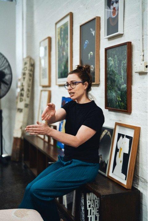 Olivia Poloni in artist Lauren Dunn's Warehouse