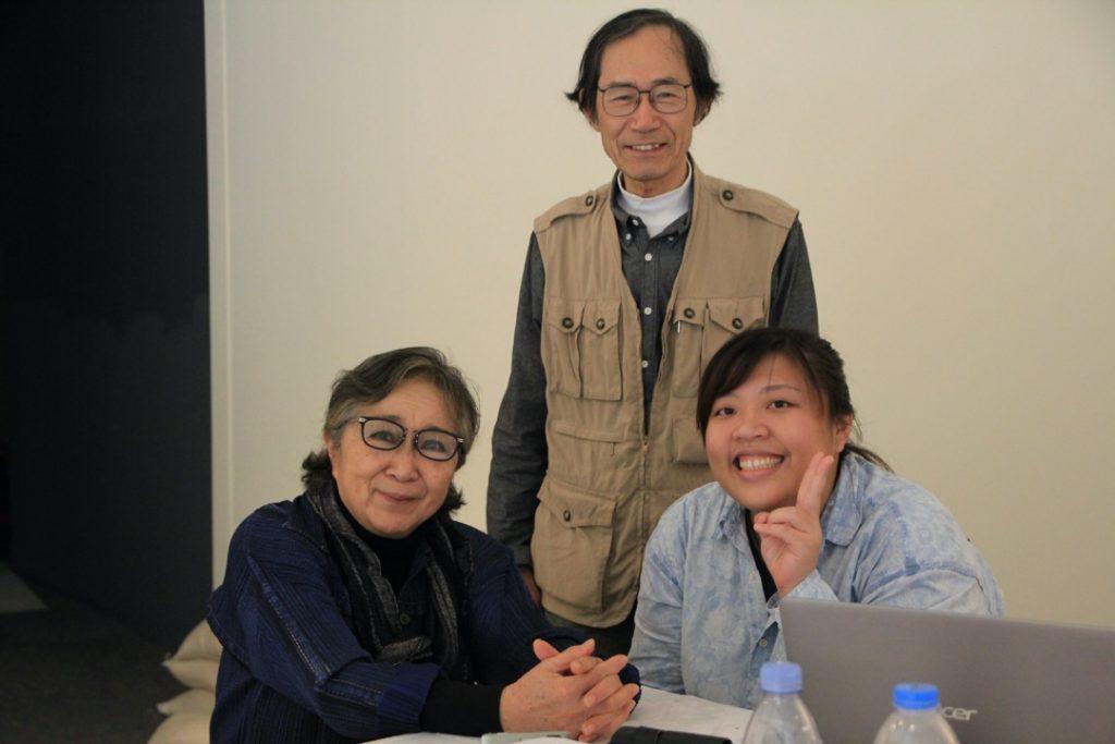 "Curator Erica Yu-Wen Huang with artist Fujiko Nakaya and the technical director of ""Post-Urban Fogscape"", Yuji Morioka"