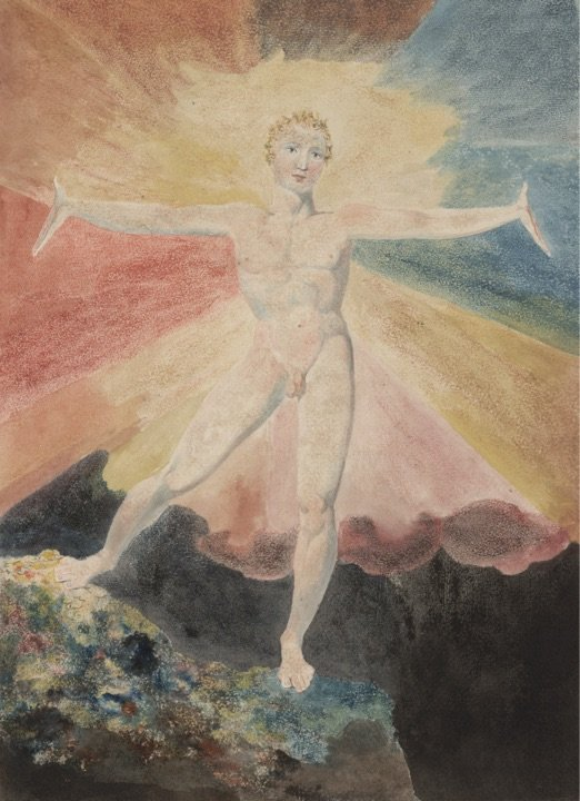 Albion Rose by William Blake, c. 1793, Colour engraving, 250 x 211 mm. On the occasion of the 2019/2020 exhibition at Tate Britain.