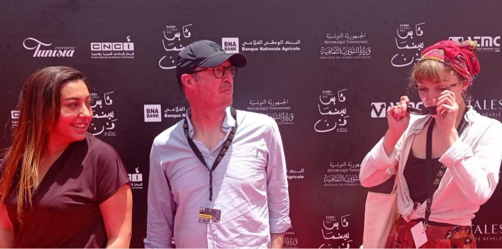 Artist Nawal El Mediri, curator Laurent Montaron, artist Anaëlle Vanel, Gabes Cinema Fen, June 2021