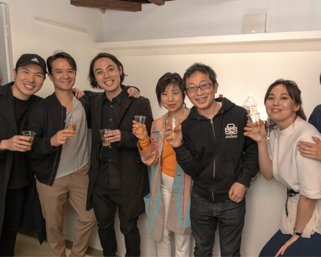 Vincent Ruijters and his solo exhibition team. From left, Jinwoong Kim (programmer), Vincent Ruijters (artist), Seiha Kurosawa (guest curator), Yuko Hasegawa (supervisor), Kazuhiko Hachiya (advisor), Sophie Arni (press officer). Komagome