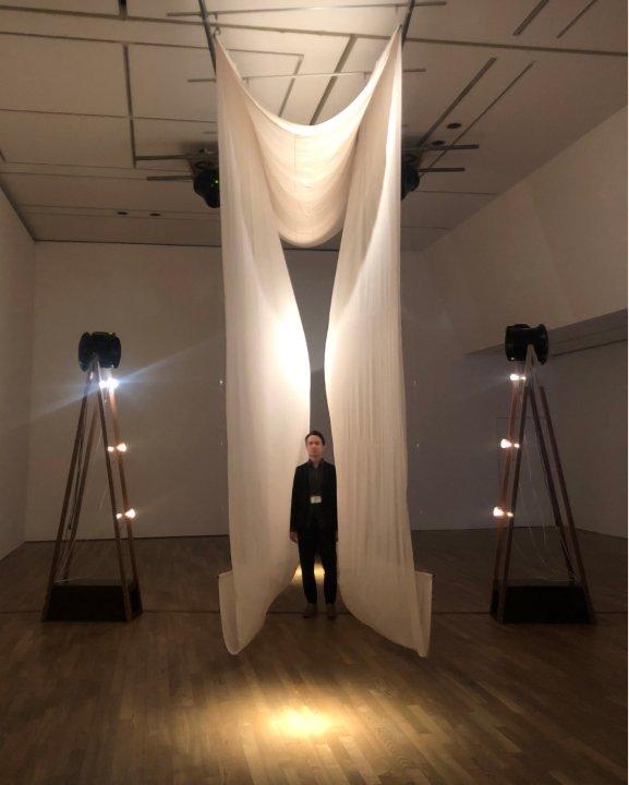Vincent Ruijters, in front of his artwork 'Breathing IN_EX-terior'. The University Museum TUA, Tokyo. 2019